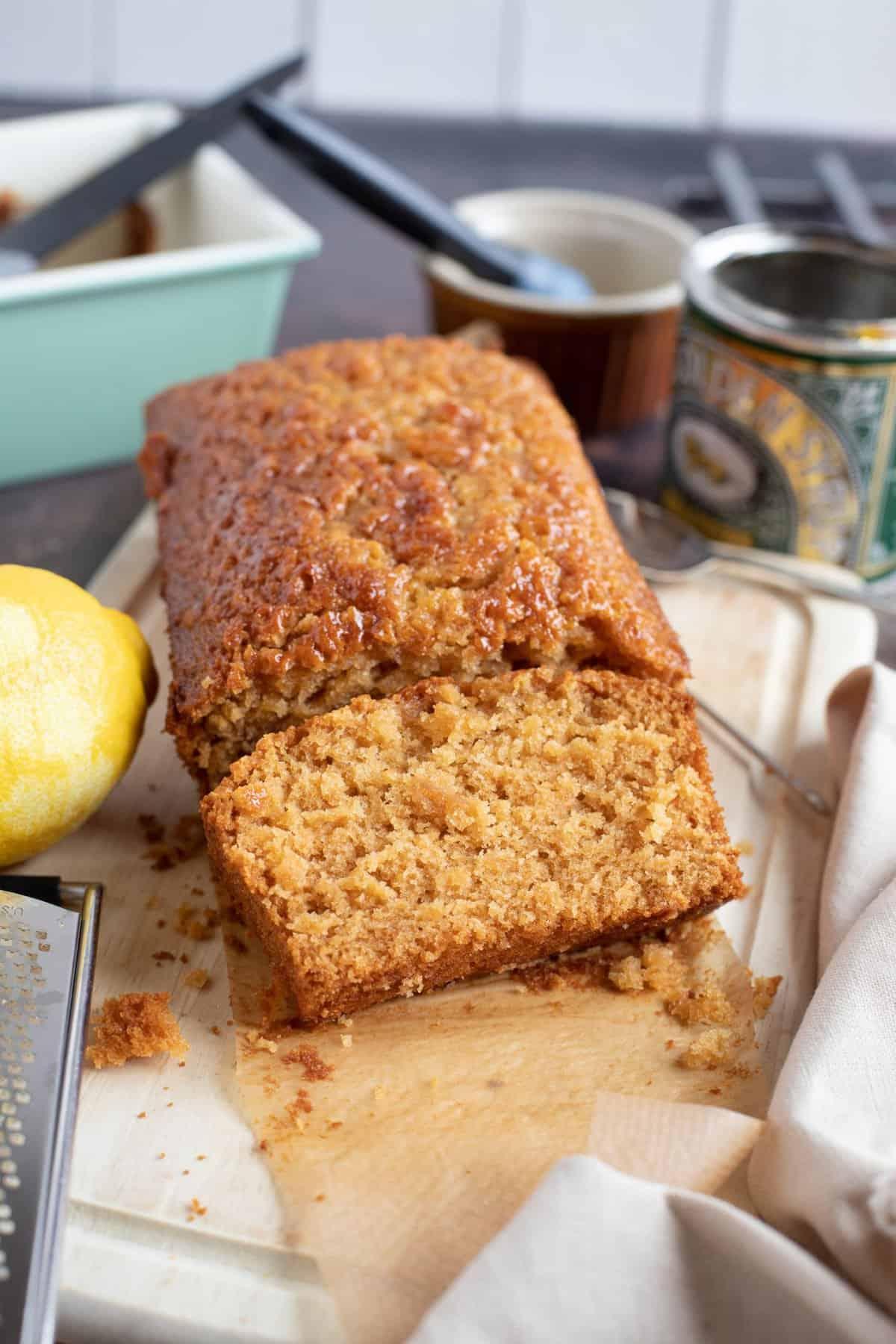 A slice of golden syrup and lemon loaf cake.