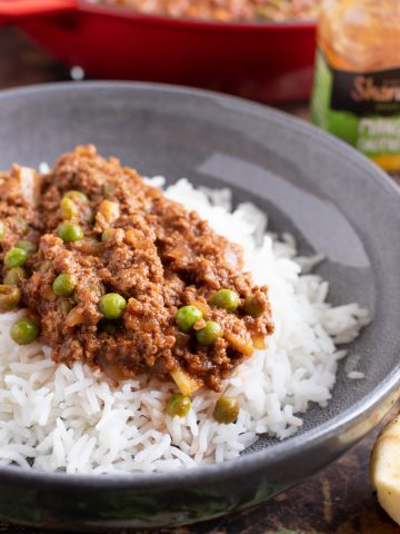 Keema Matar curry on a bed of basmati rice.