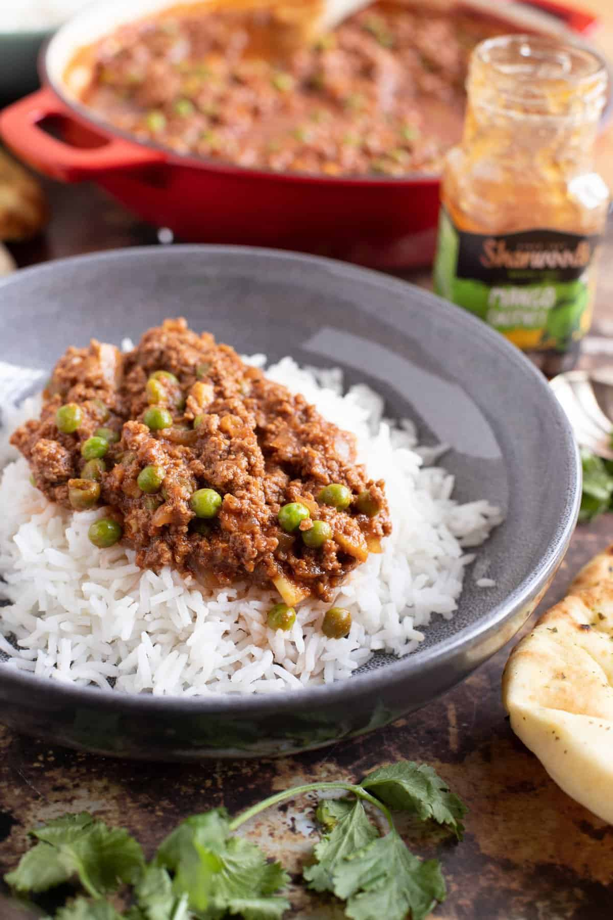 Keema Matar curry on a bed of rice.