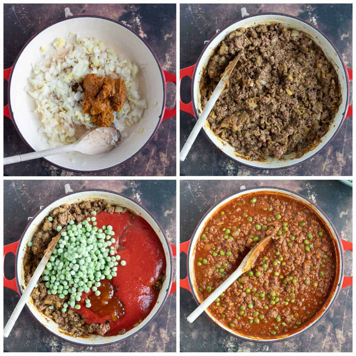 Step by step photo instructions for making Keema Matar.