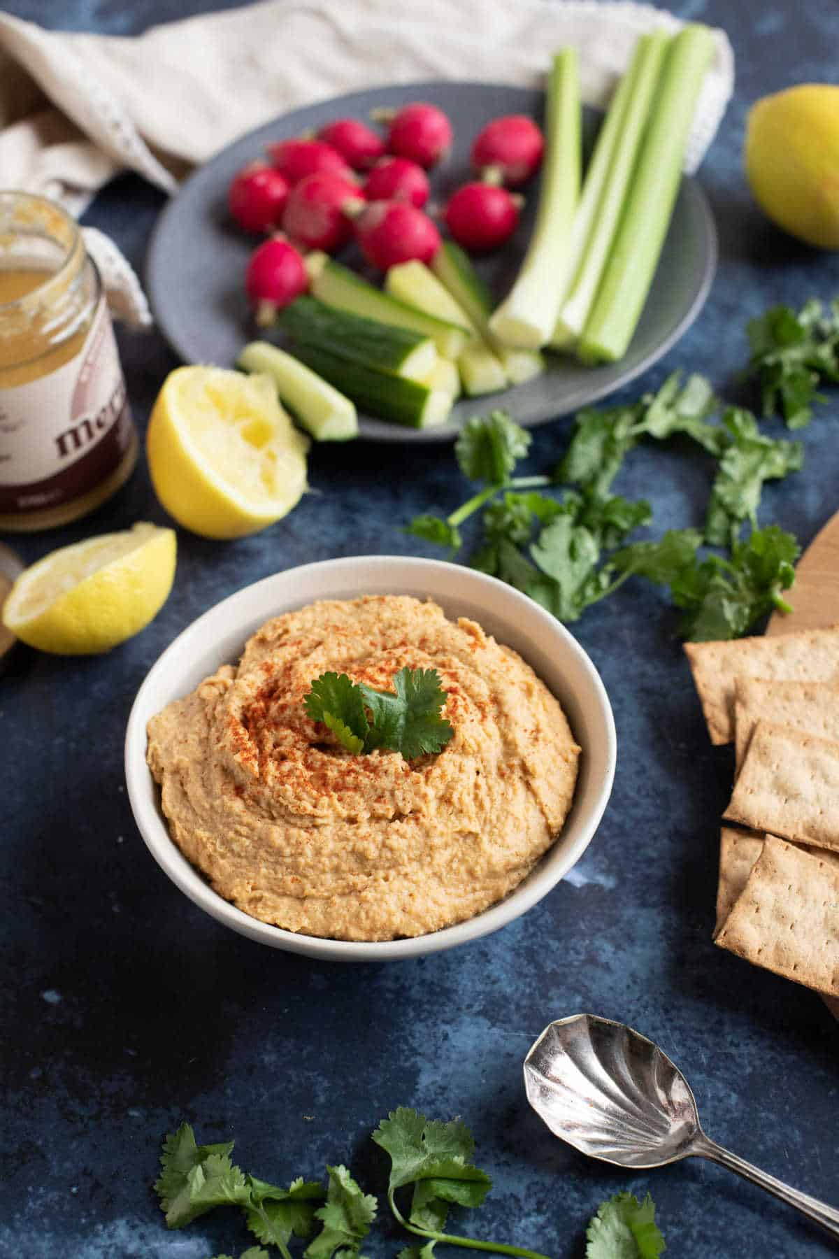 A bowl of homemade Moroccan hummus.