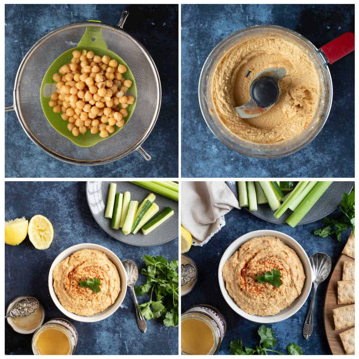Step by step photo instructions for making homemade hummus.
