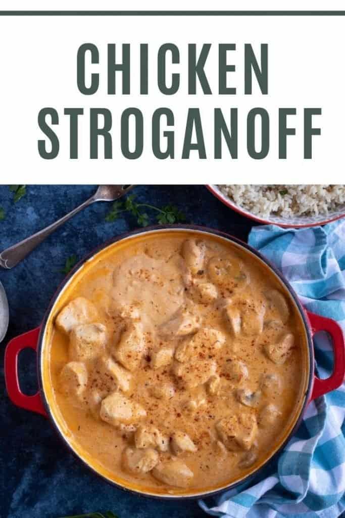Chicken and Mushroom Stroganoff Pinterest Pin.