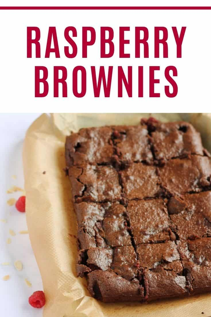Raspberry Brownies Pinterest pin with text overlay.
