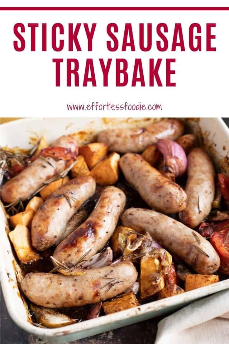 Sticky Sausage Traybake Pin for Pinterest with text overlay.