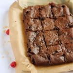 Raspberry Brownies cut into squares.