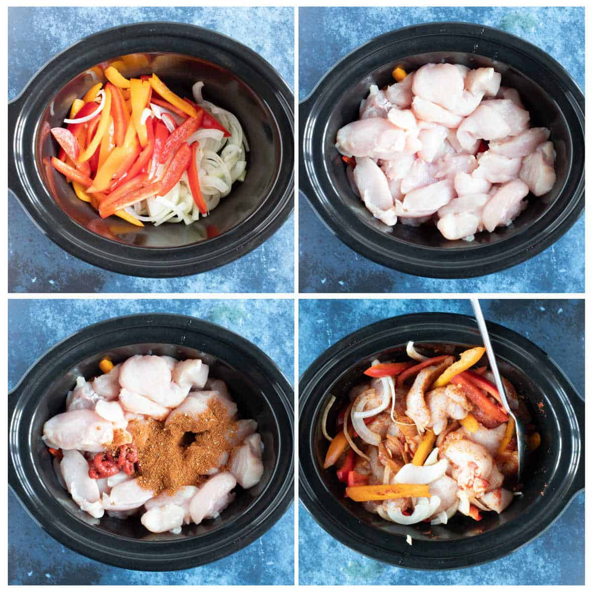 Step by step photo instructions for making slow cooker chicken fajitas