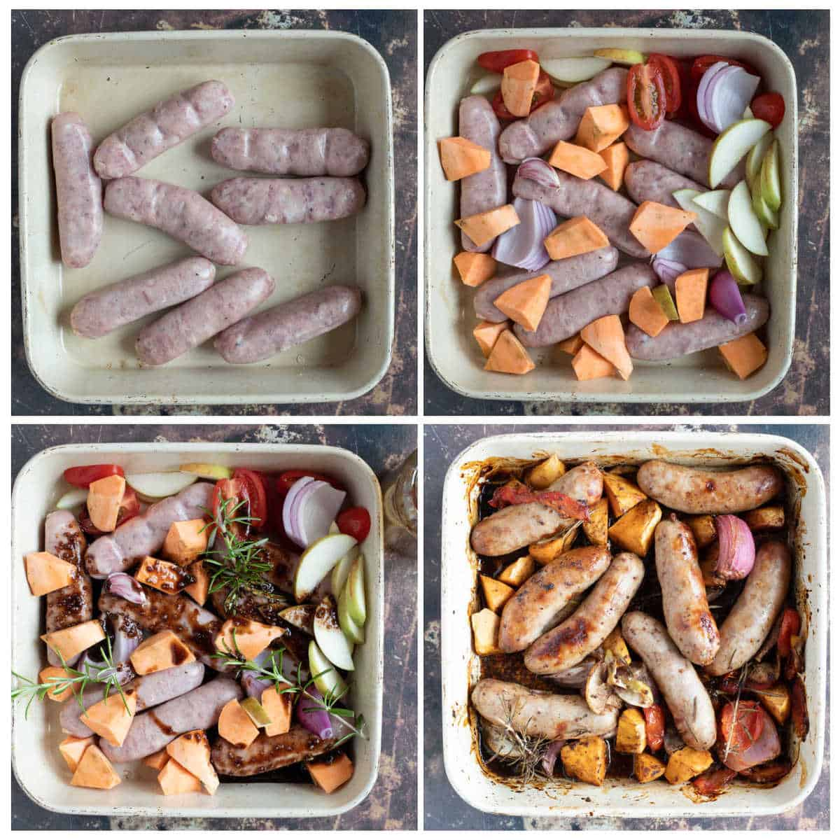 Step by step photo instructions for making the sticky sausage and sweet potato traybake.