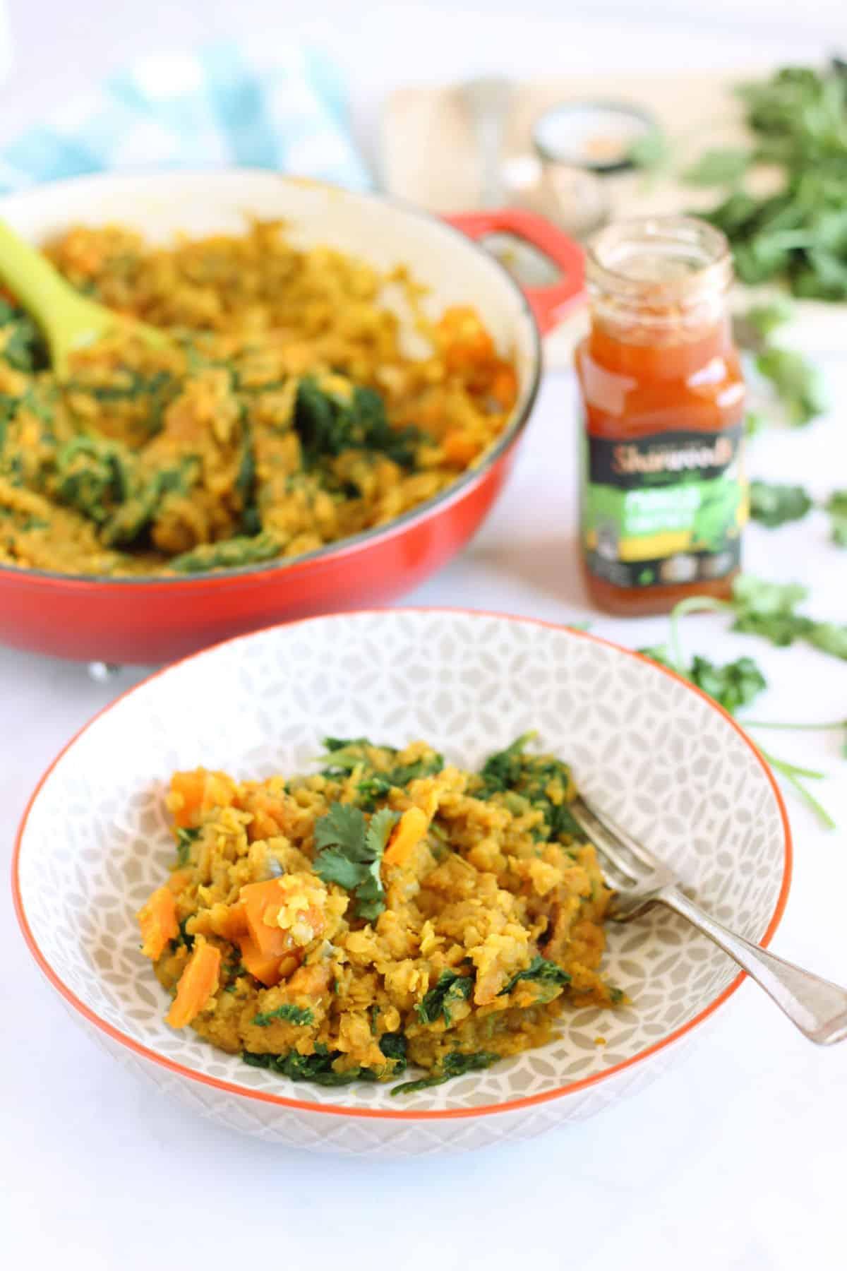 A bowl of lentil curry.