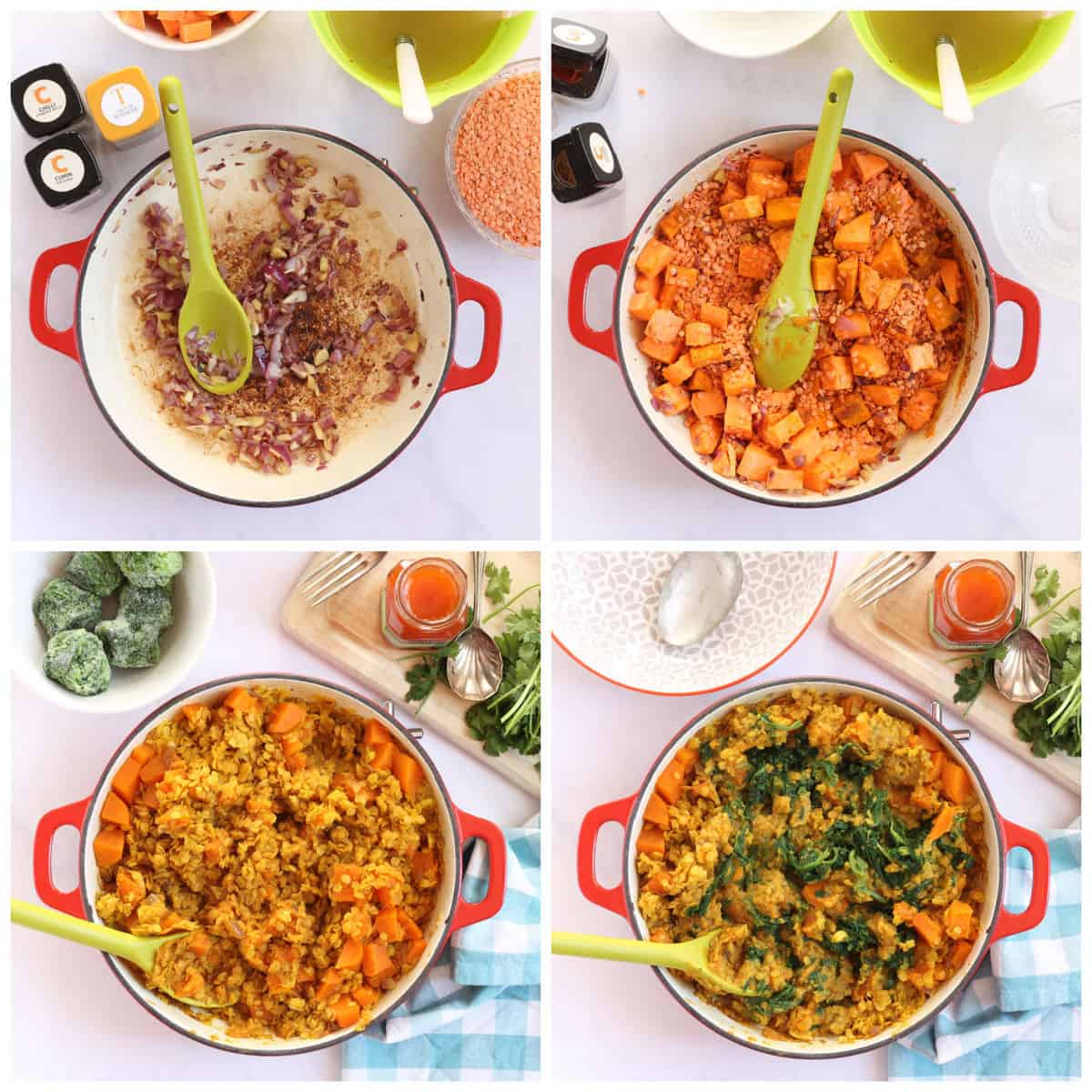 Step by step photo instructions for making the sweet potato and red lentil curry.