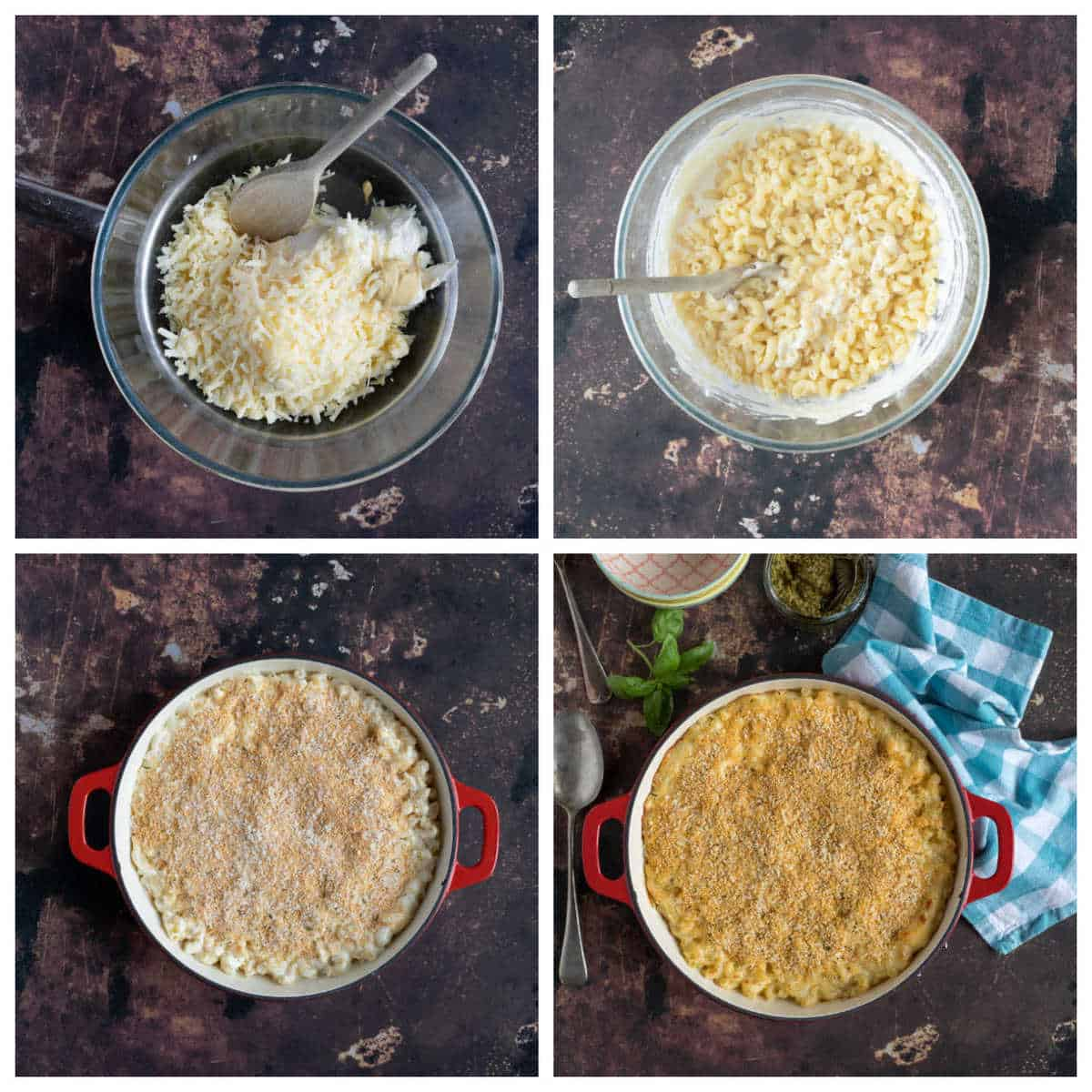Step by step photo instructions for making easy cheesy pasta.