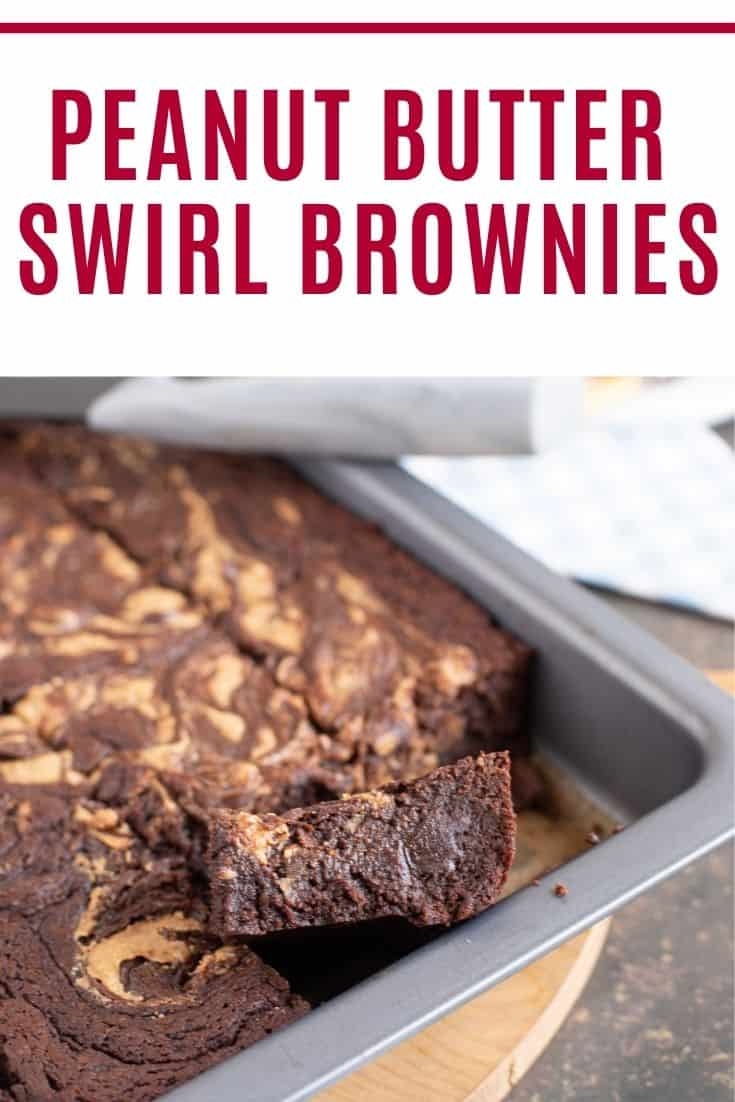 Peanut Butter Swirl Brownies Pin with text overlay.