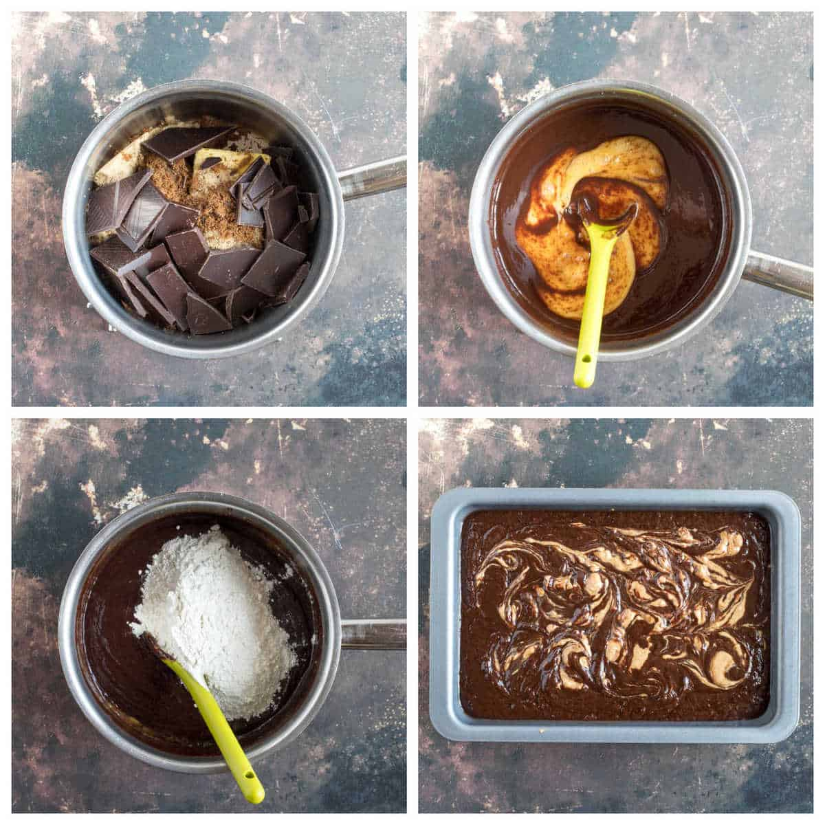 Step by step photo instructions for making the peanut butter swirl brownies.
