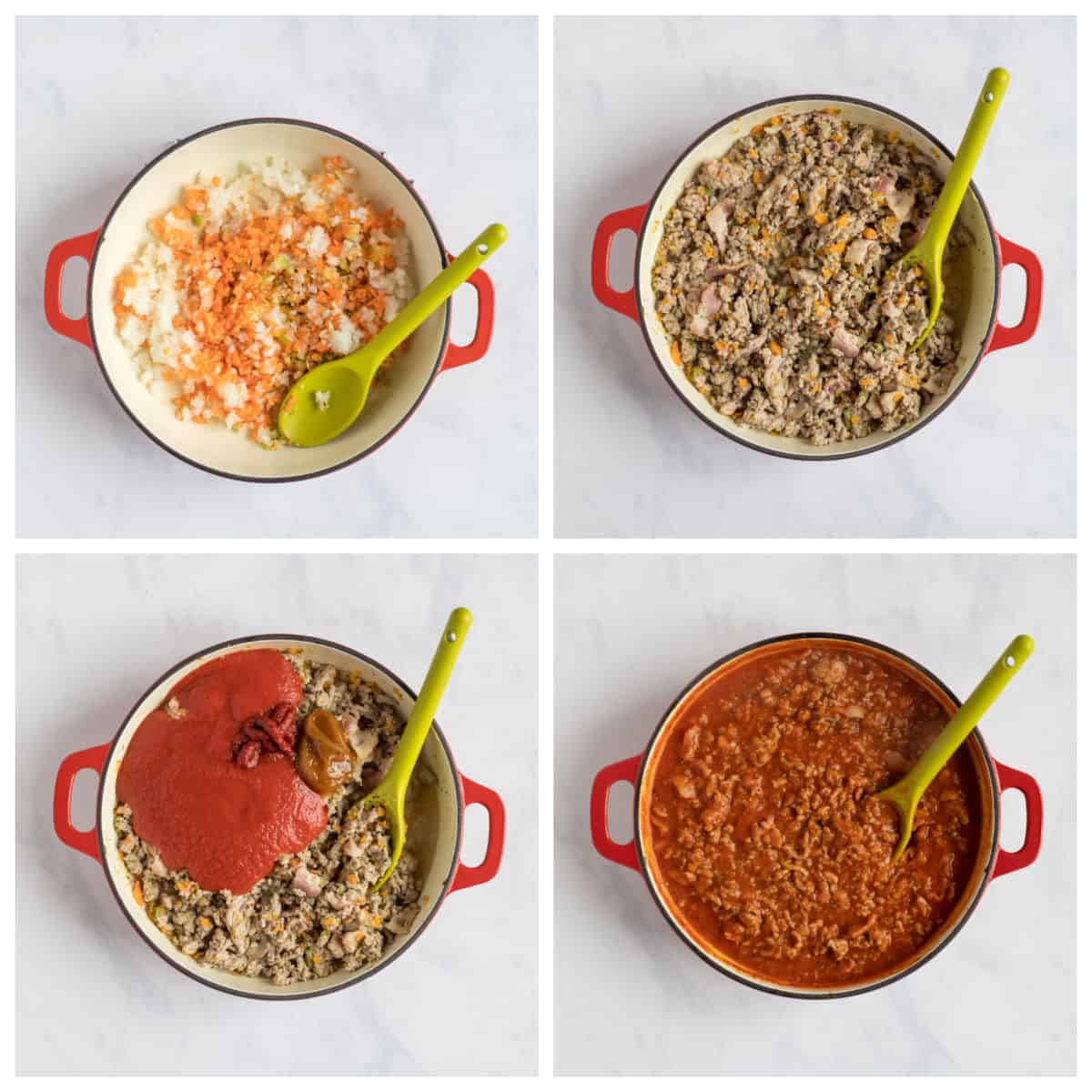 Step by step photo instructions for making the turkey bolognese recipe.