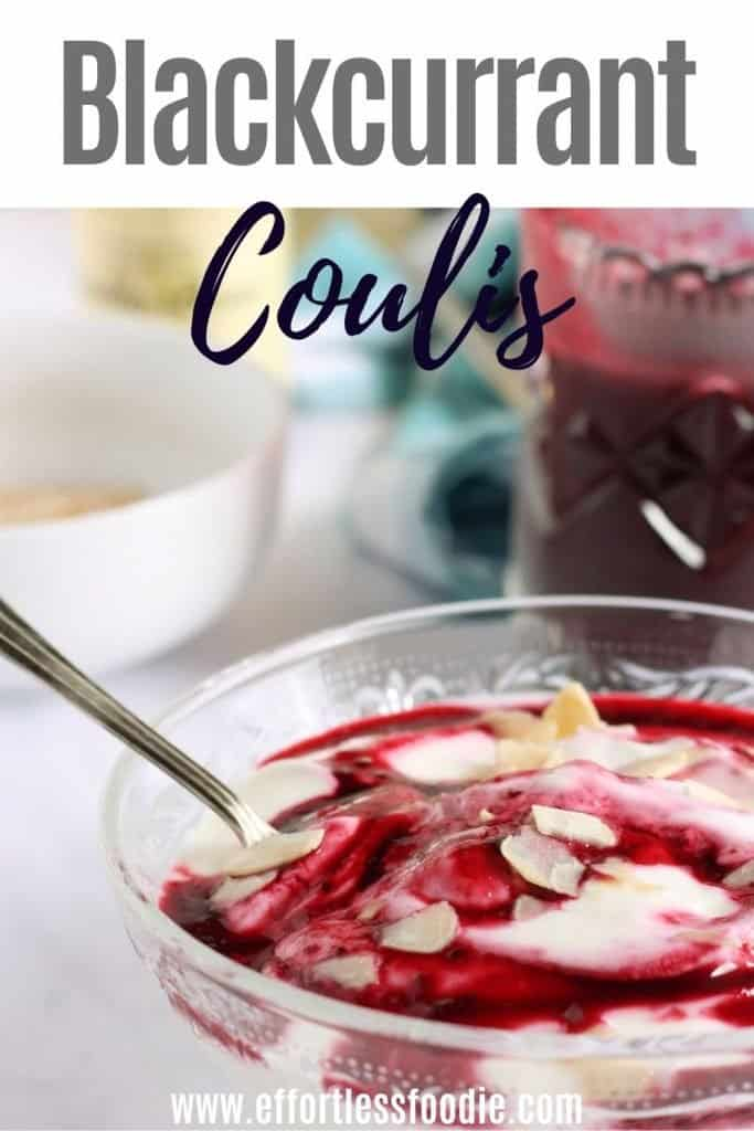 Blackcurrant coulis pin image.