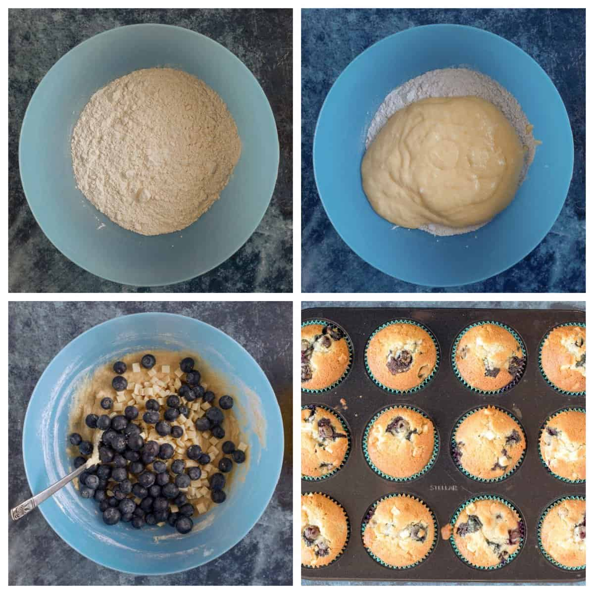 Step by step photo instructions for making the muffins.