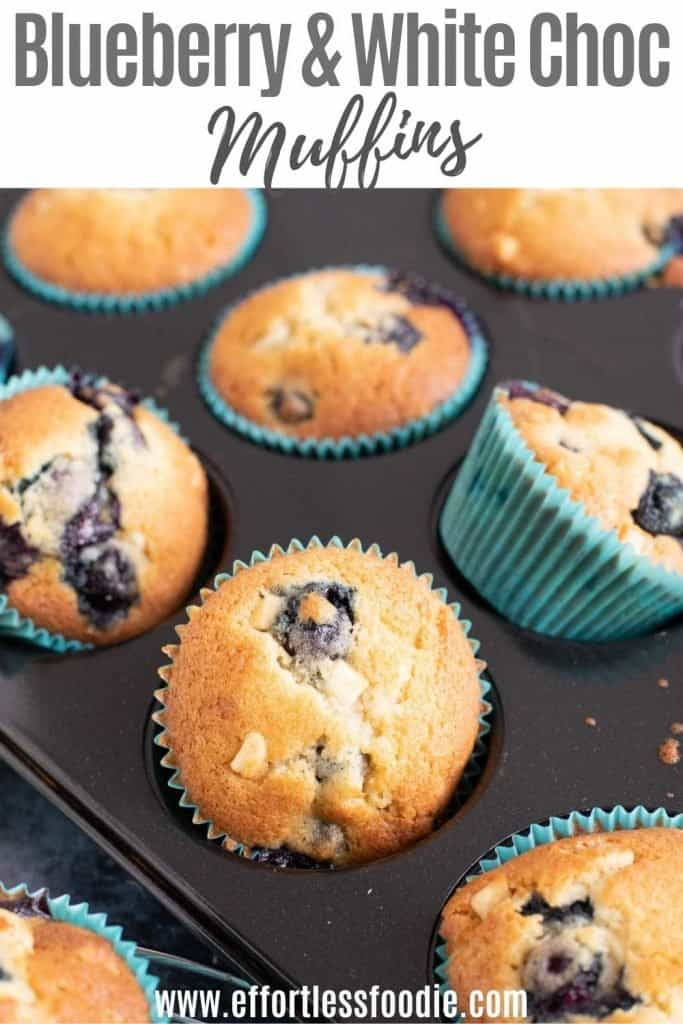 Blueberry and white chocolate muffin pin image with text overlay.