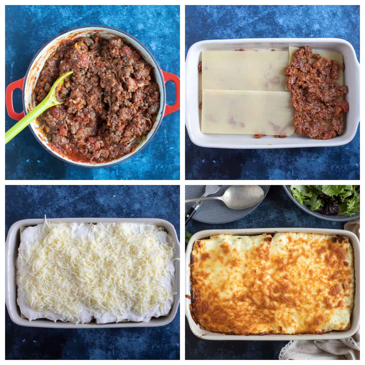 Step by step photo instructions for making cheat's lasagne.