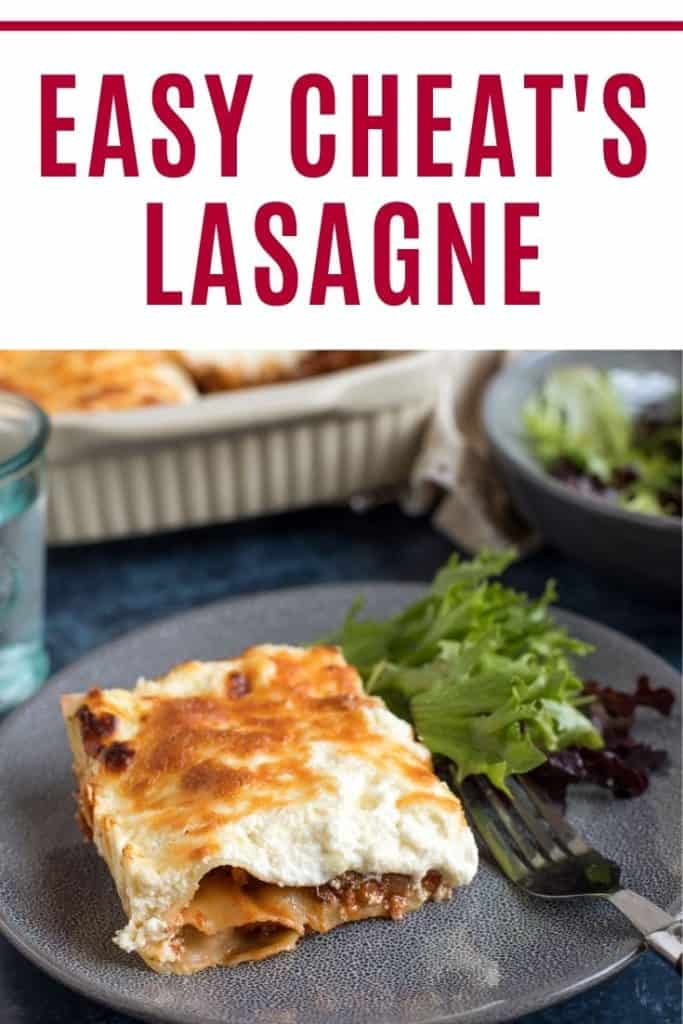 Cheat's lasagne pin image with text.