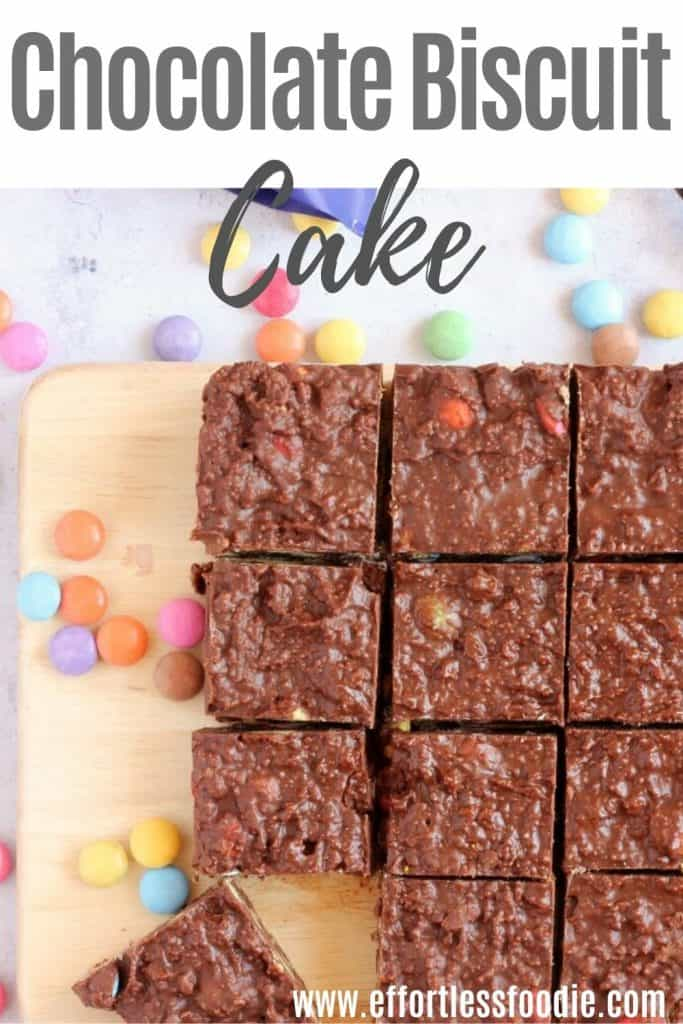 Chocolate biscuit cake pin image.