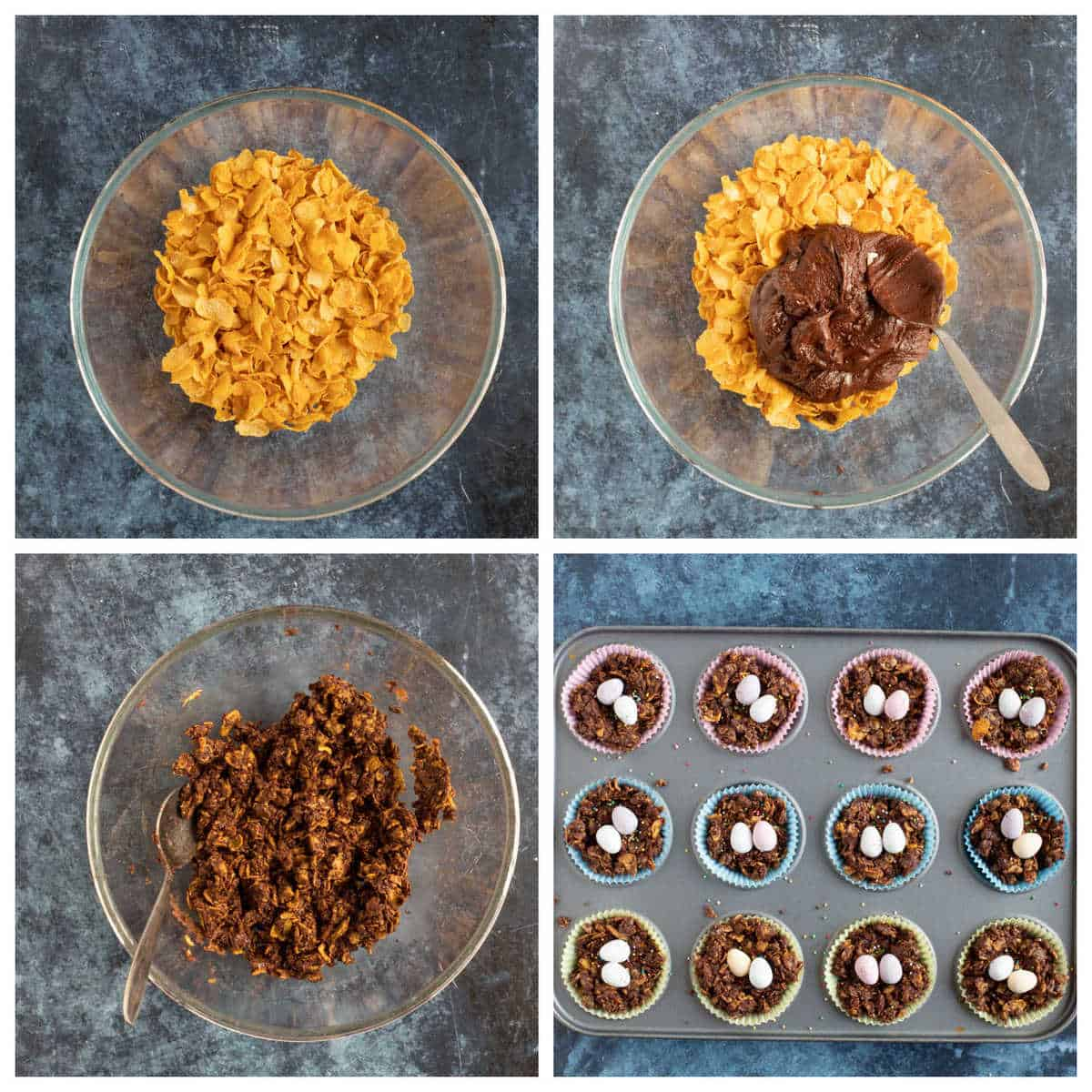 Step by step photo instructions for making the cornflake cakes.