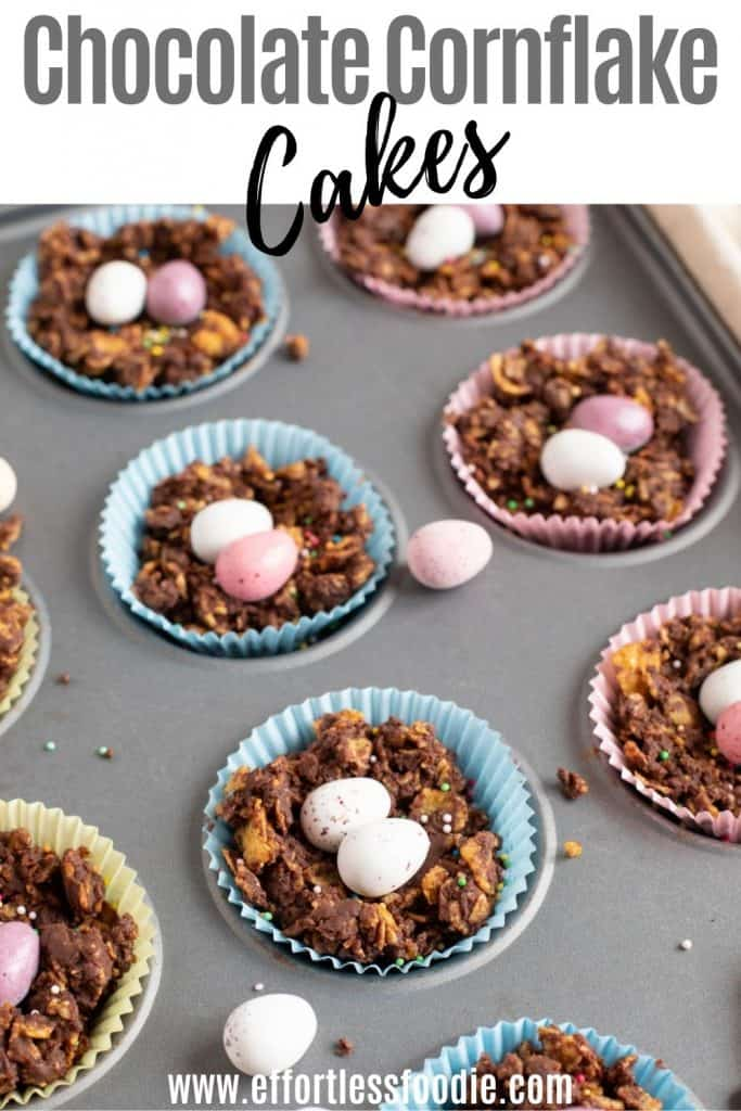 Chocolate Cornflake Cakes pin image with text overlay.