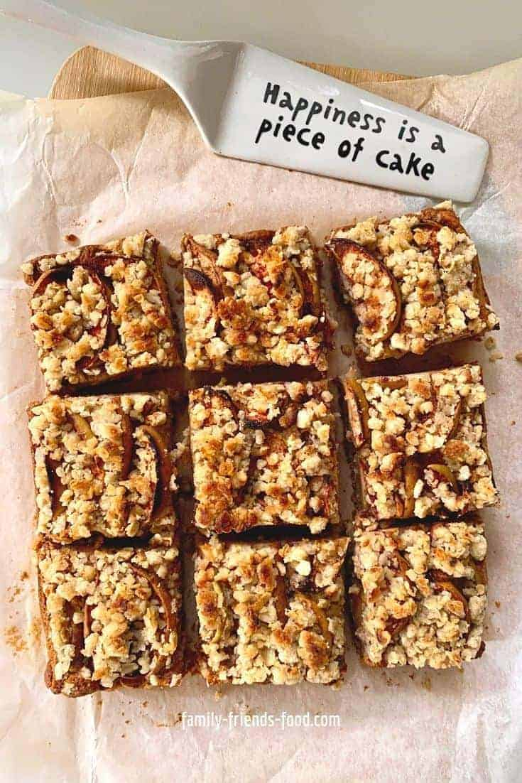 Pear and Apple Crumble Cake slices.