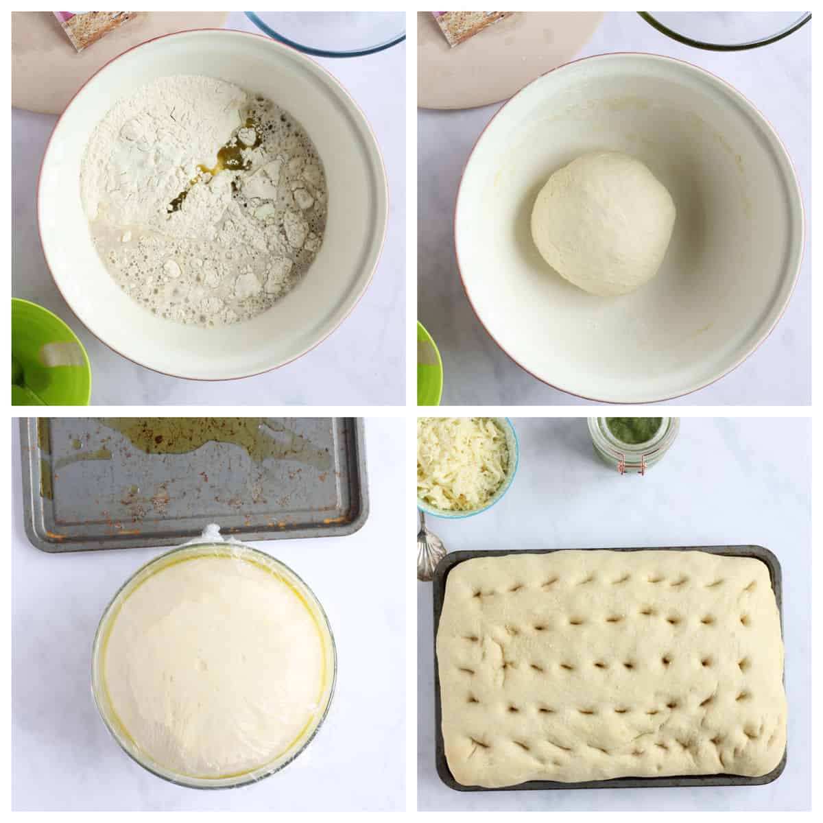 Step by step photo instructions for making focaccia.