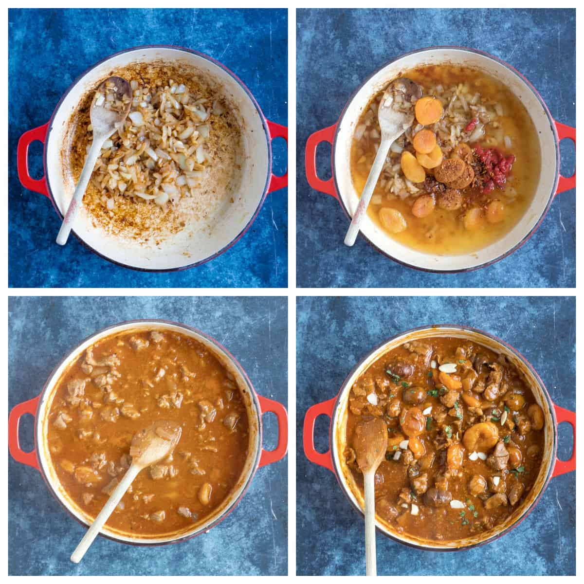 Step by step photo instructions for making lamb tagine with apricots.