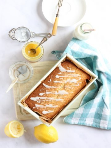 Lemon Curd Loaf Cake with a drizzle icing.