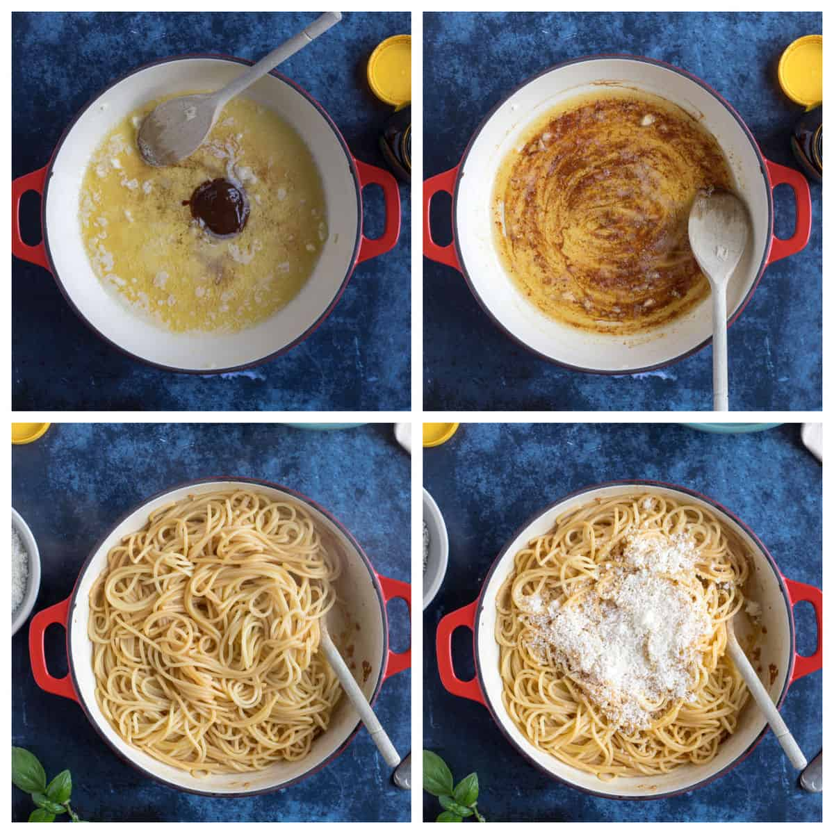 Step by step photo instructions for making marmite pasta.