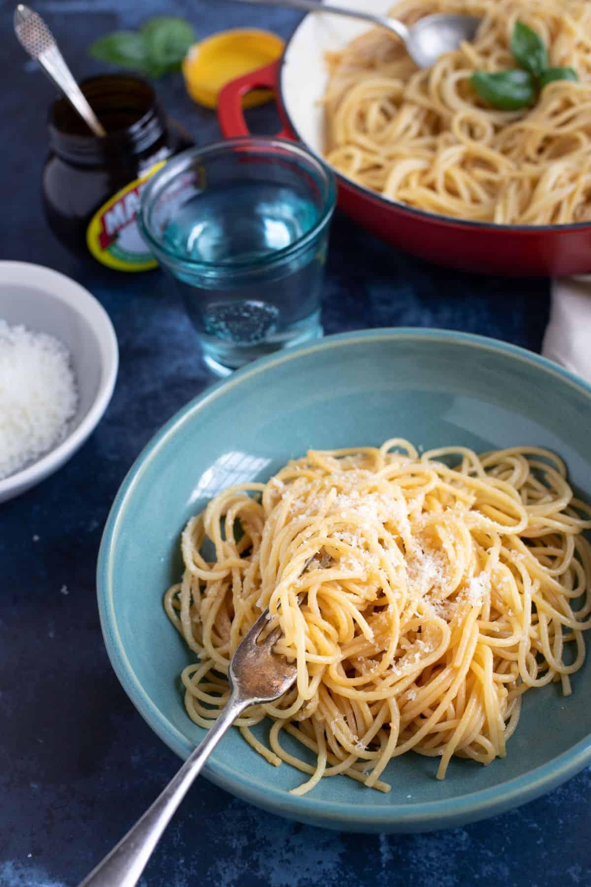 A bowl of marmite pasta.