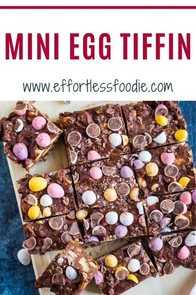 Chocolate Tiffin with Mini Eggs pin image.