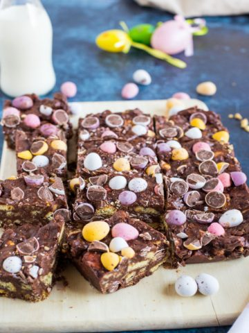 Squares of mini egg tiffin.