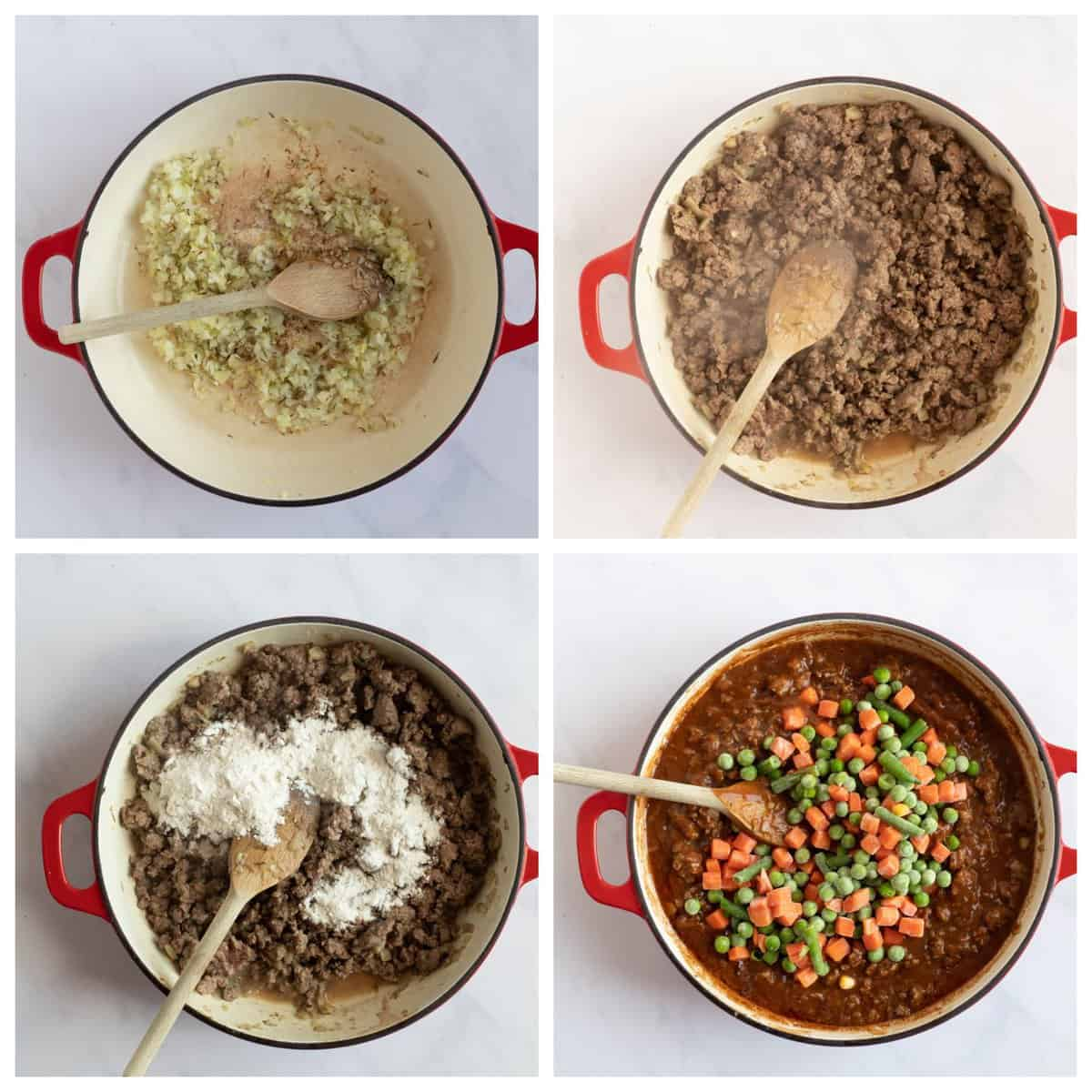 Step by step photo instructions for making savoury mince.