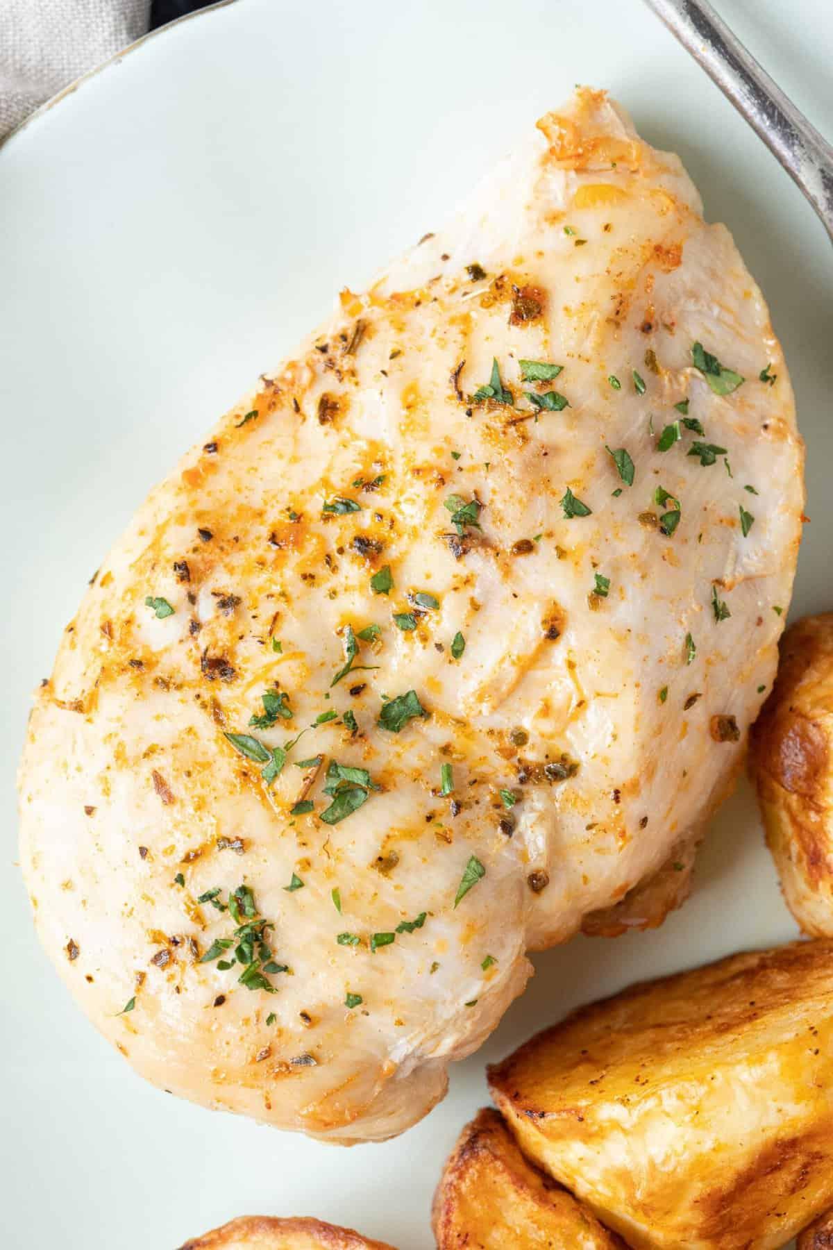 An air fryer chicken breast close up.