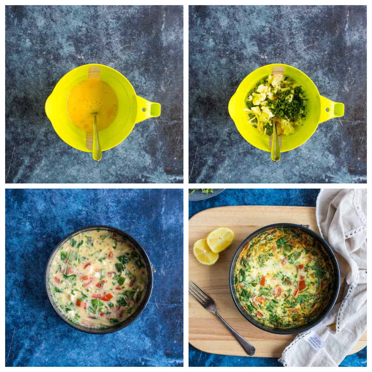 Step by step photo instructions for making air fryer breakfast frittata.
