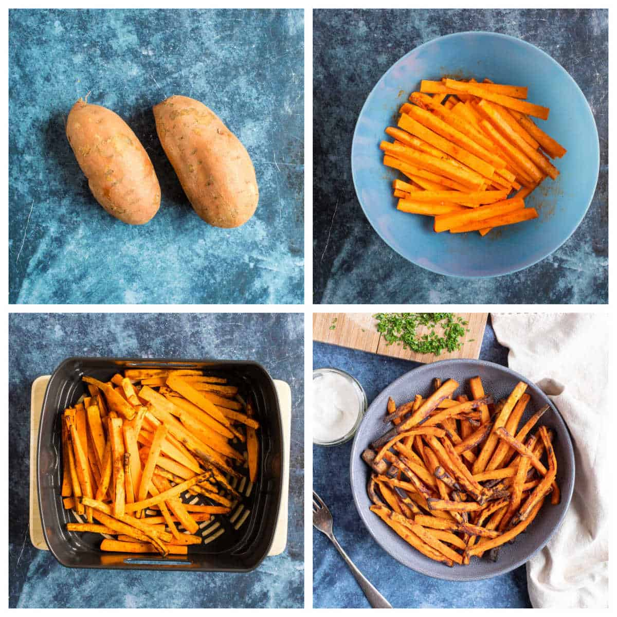 Step by step photo instruction collage for making air fryer sweet potato fries.