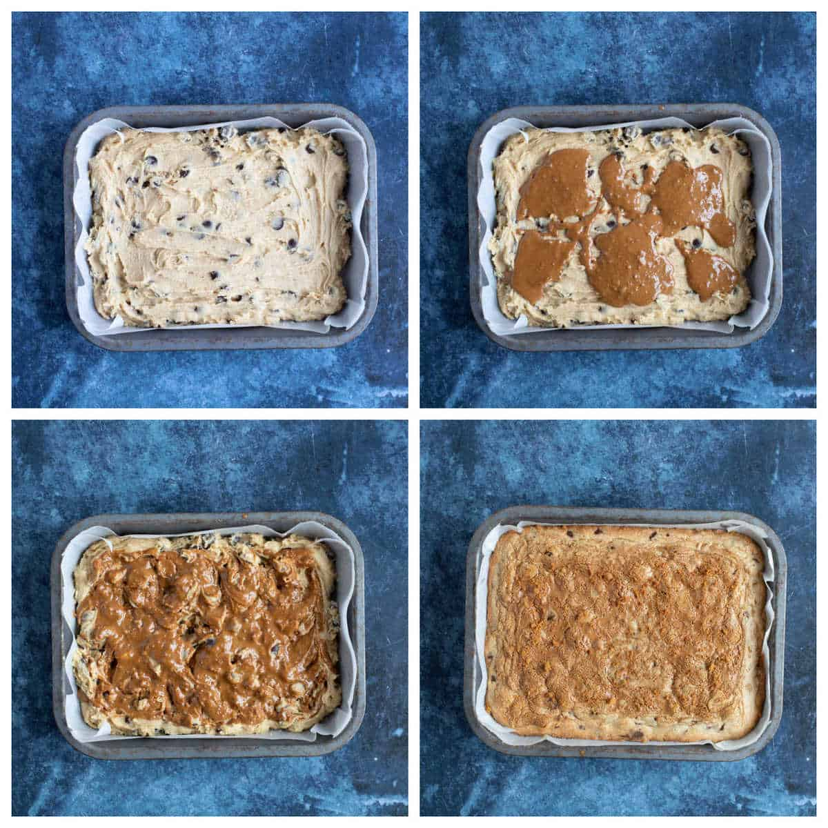 Step by step photo instructions for making Biscoff blondies part 2.