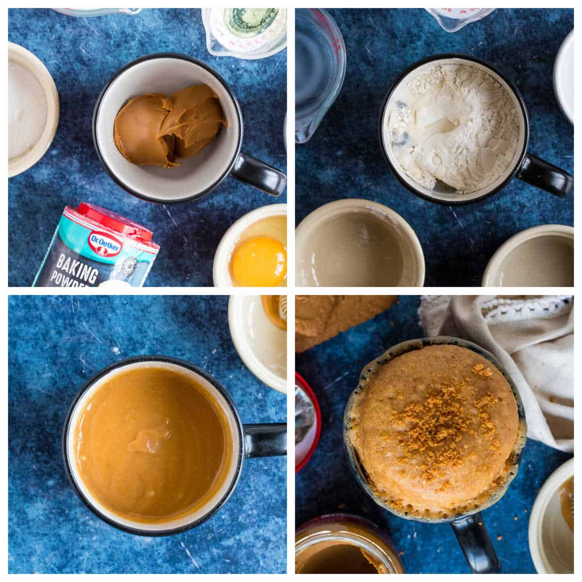 Step by step photo instructions for making the mug cake.