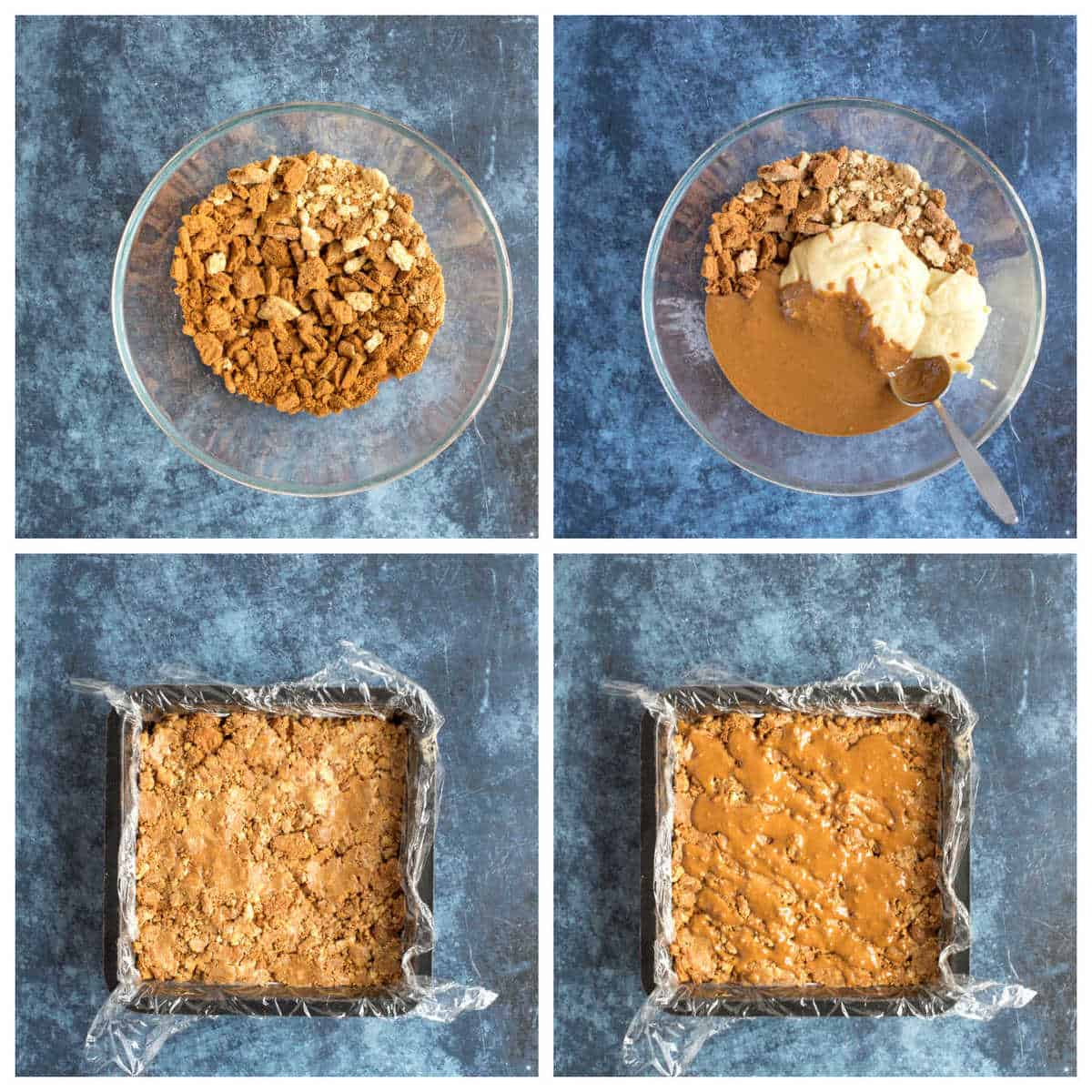 Step by step photo instructions for making biscoff fridge cake