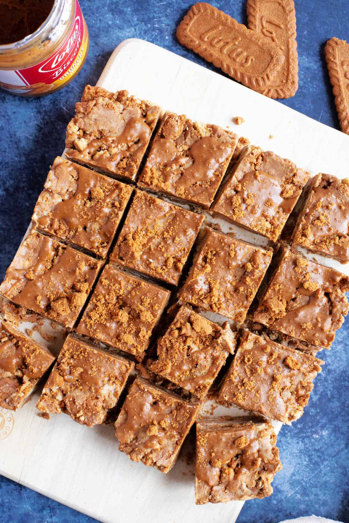 No bake Biscoff tiffin squares on a board.