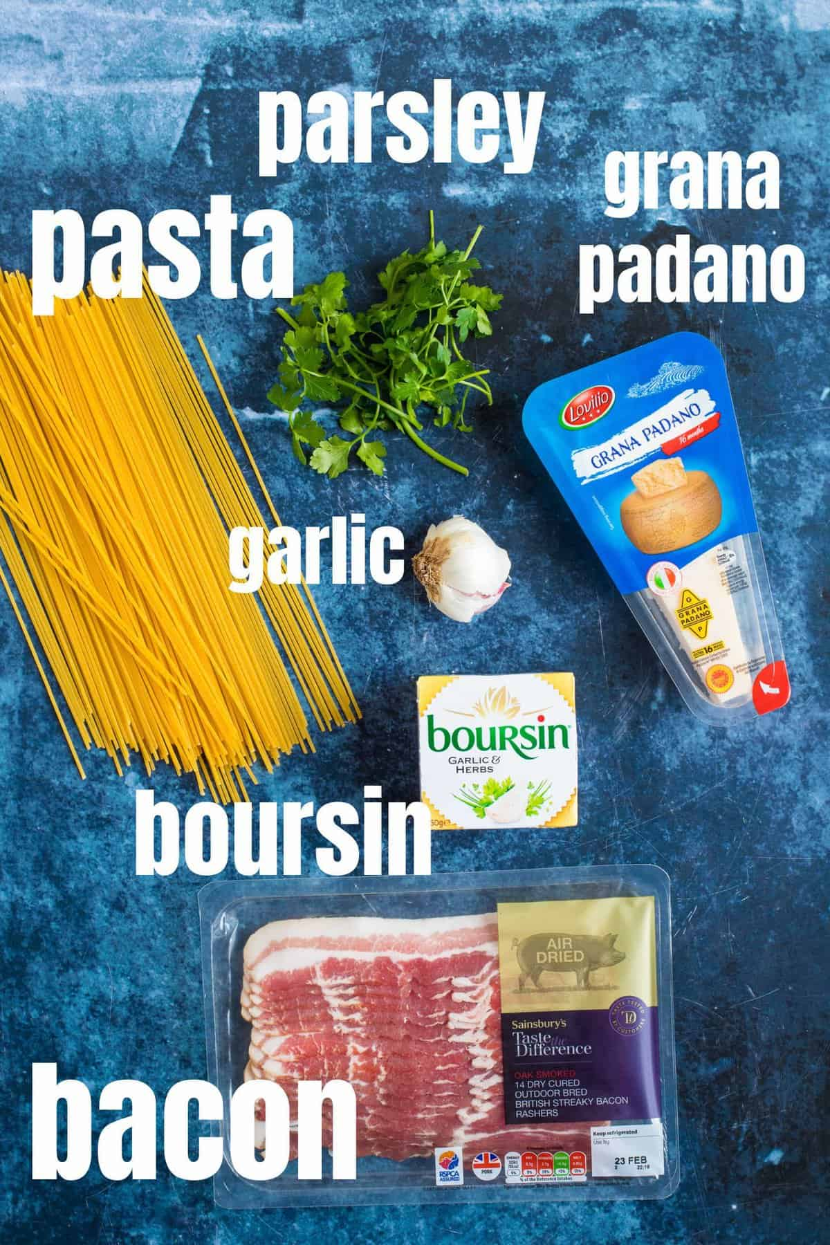 Ingredients for the Boursin pasta.