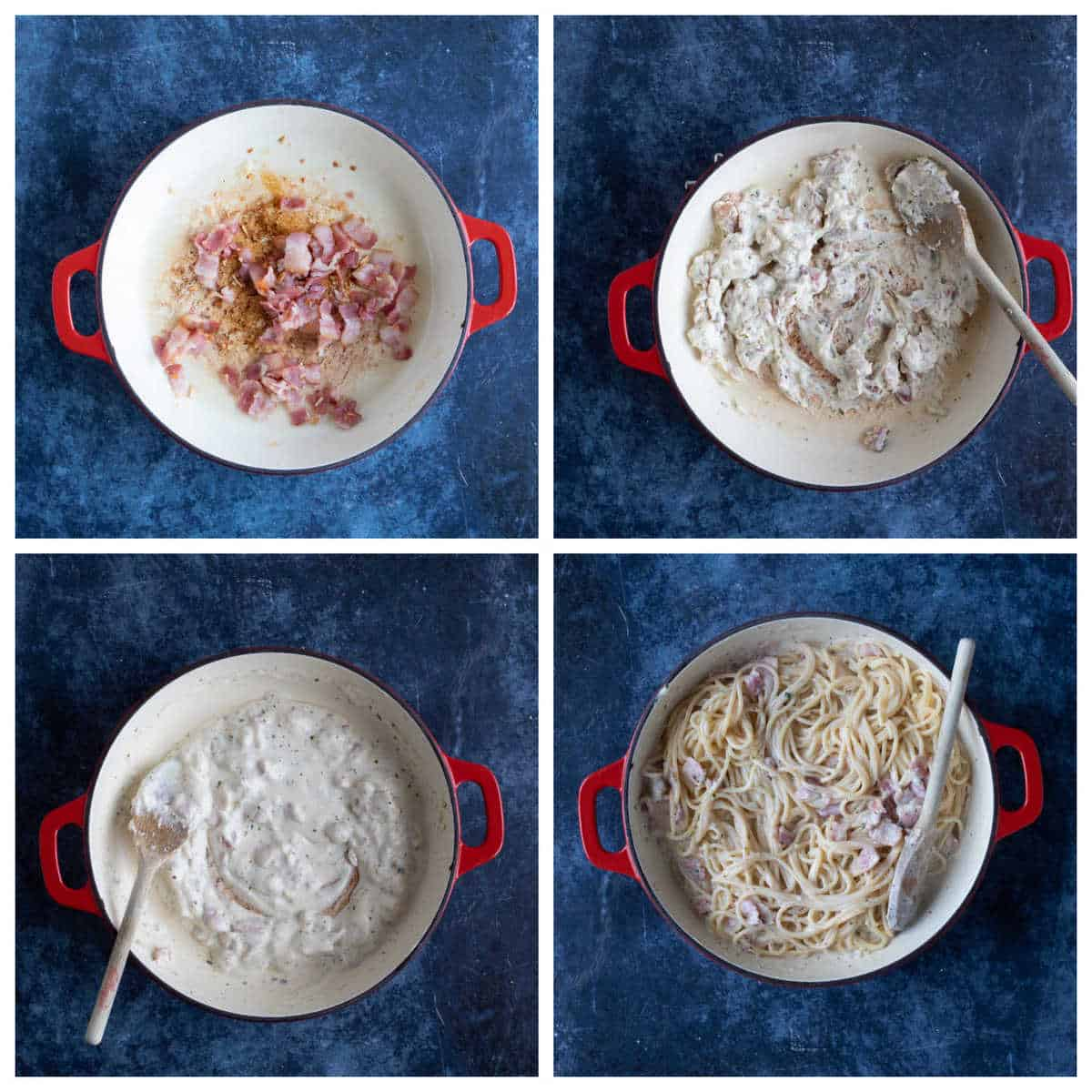 Step by step photo instructions for making Boursin Pasta.