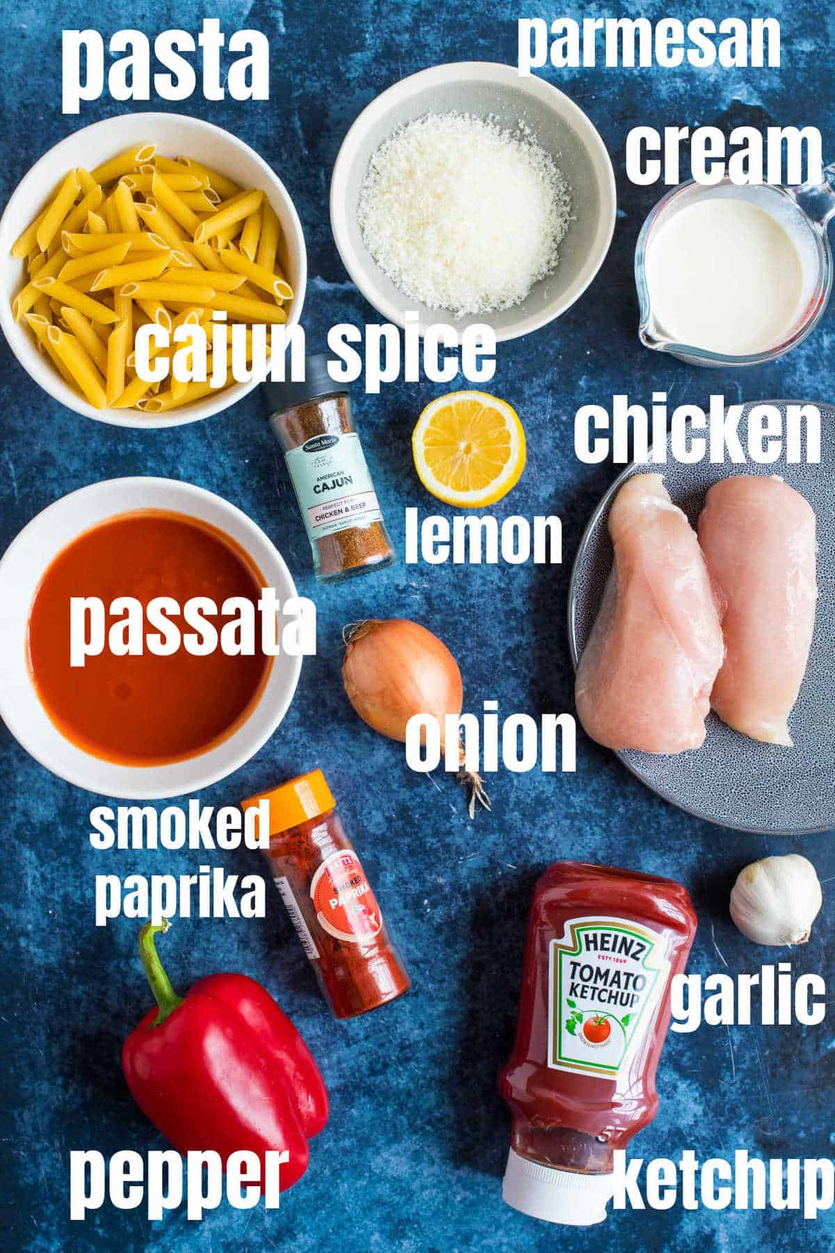 Ingredients for the creamy Cajun chicken pasta.