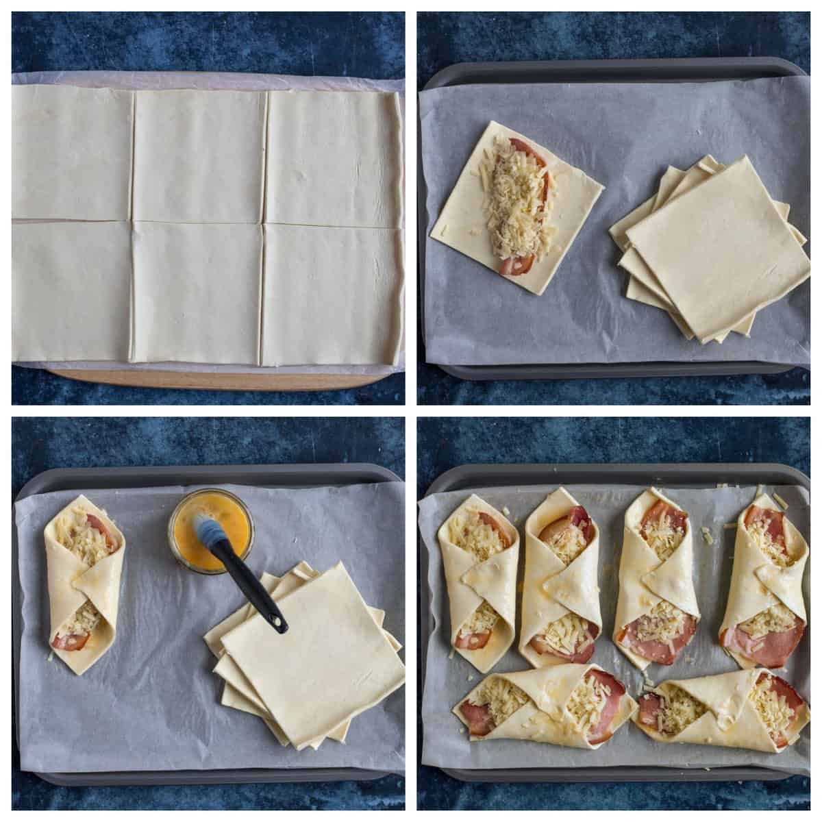 Step by step photo instructions for making the cheese and bacon turnovers.