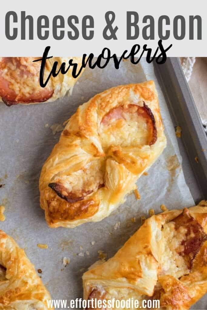 Cheese and bacon turnovers pin image