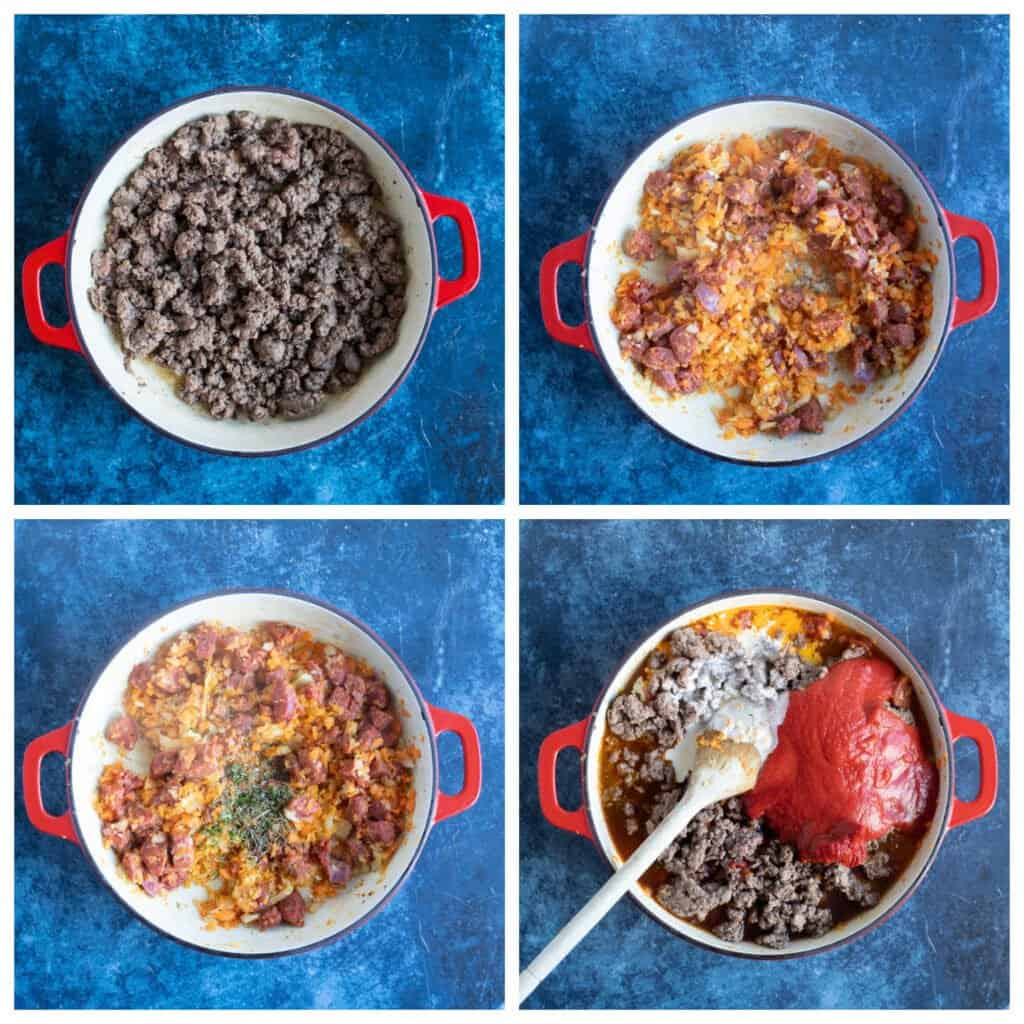 Step by step photo instructions for making chorizo bolognese