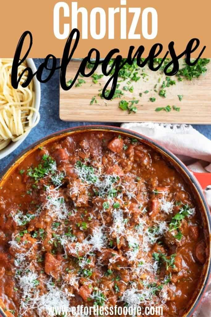 Chorizo bolognese pin image with text overlay.