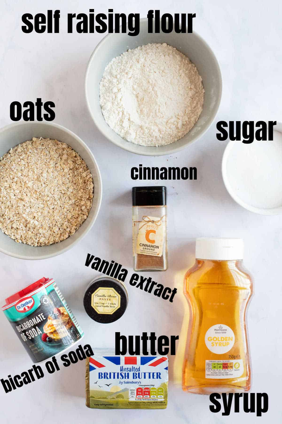 Ingredients for cinnamon cookies.